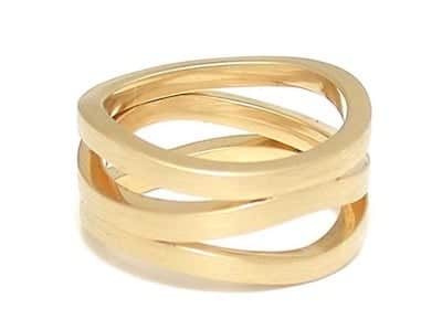 matte finished triple wave yellow gold ring - wedding / engagement-customizable
