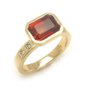 Yellow+Gold+Orange+Garnet+Diamond+Stacking+Ring