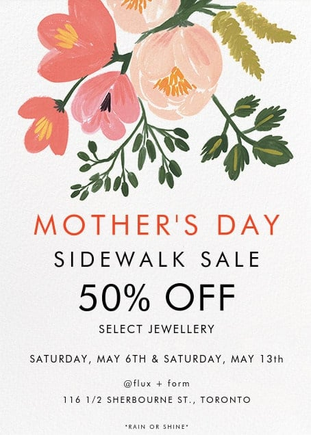 Mother's Day Saturday Sidewalk Sale 2017 | flux + form