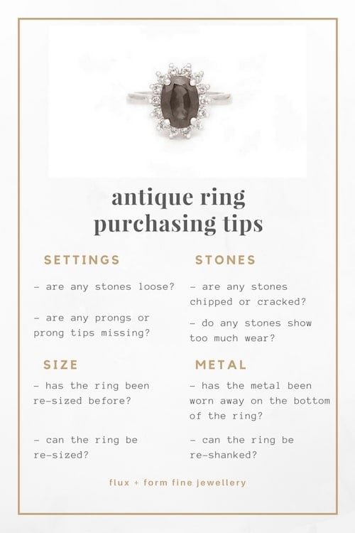 antique engagement rings purchasing tips graphic