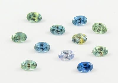 oval cut montana blue yellow green sapphires