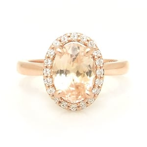 Peach Sapphire Rose Gold Engagement Ring with Diamond Halo