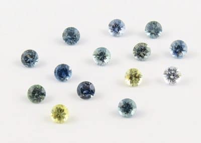 round montana blue yellow green sapphires