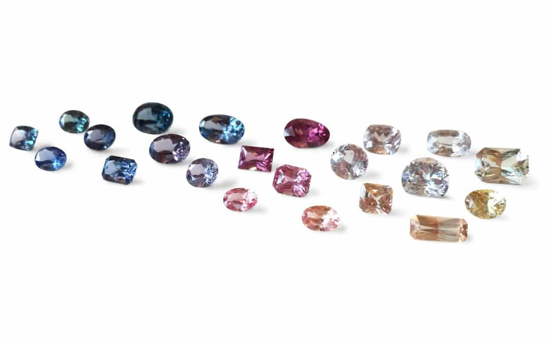 blue green pink and white sapphires of many cuts