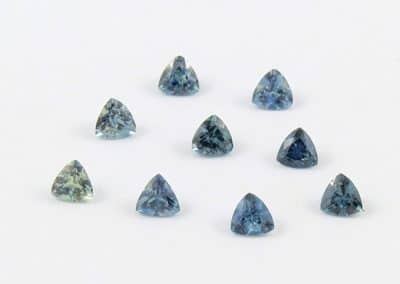 triangular shaped montana blue green sapphires