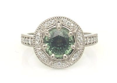 green sapphire vintage white gold engagement ring