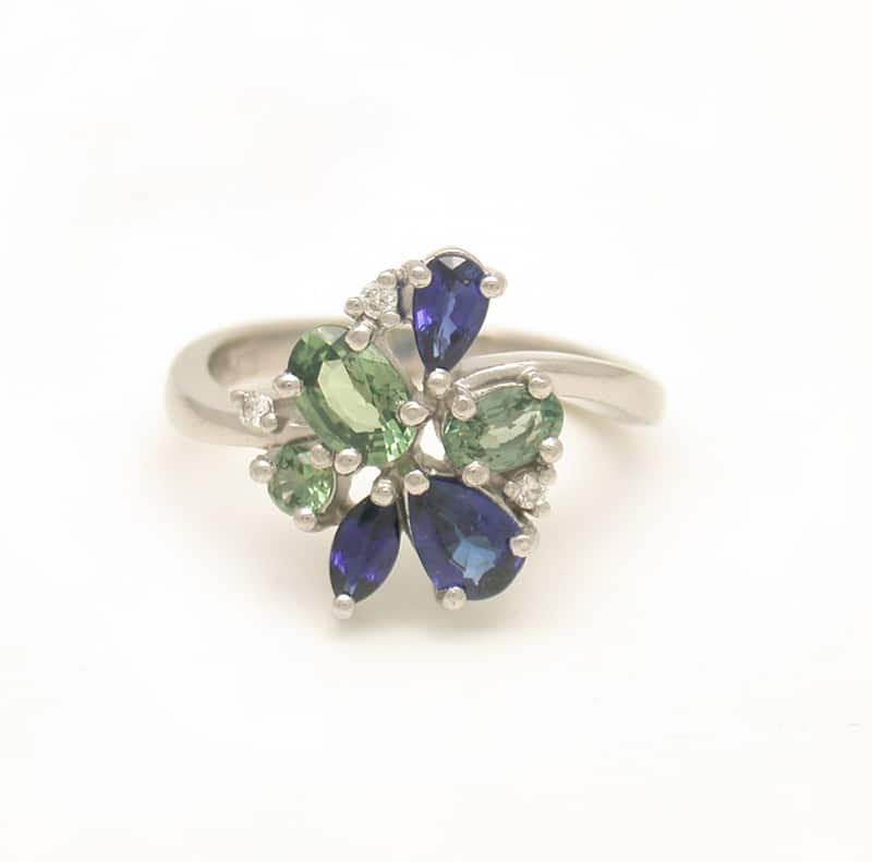 bluish ring vintage montana ocean carat style engagement and blue features for fit gold sapphire in this rings of an claw green set a